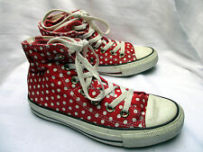 Converse All Star Red Polka Dot Double Tongue Hi Top Trainers Sneakers UK Size 3