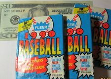 1990 Fleer Baseball Cards Lot of 3 (Three) Sealed Unopened Wax Packs (45 cards)