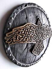 Viking Norse Odin Raven Huginn Muninn Shield Brass Iron Wall Mount Art Decor