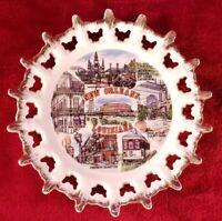 New Orleans Louisiana souvenir plate ceramic gold trimmed French Quarter