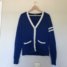 RALPH LAUREN Rugby Label Blue And White Striped Cardigan Size S