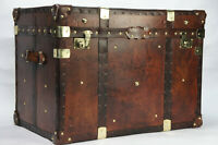 Finest English Large Leather Steamer Trunk Coffee Table