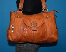 FOSSIL Large Rugged Brown Leather Satchel Carryall Tote Shoulder Purse Bag 2750