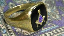 Solid 14k gold onyx masonic free mason ring 13.21 grams size 13.75