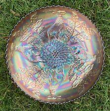 "Rare 8"" AMETHYST Fenton Stag & Holly Carnival Glass Ice Cream Bowl Spatula Feet"