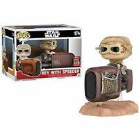"DAMAGED BOX GALACTIC EXCLUSIVE STAR WARS REY WITH SPEEDER 3.75"" POP VINYL FIGURE"