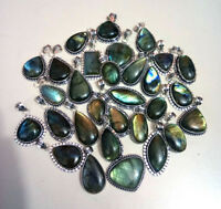 20 PCs Natural Multifire Labradorite Gemstone Silver Plated Necklace Pendants