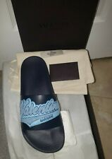 NEW Valentino Garavani Logo Leather Pool Slides Sandals Men 6 EUR 39 Womens 8