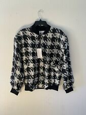 Men's Vintage Deadstock Goouch Houndstooth Print Silk Bomber Jacket - Size Small
