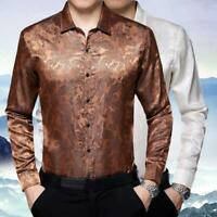 Fashion Men's Satin Tops Long Sleeve Paisley Floral Dress Shirts Business Blouse