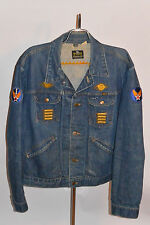 VINTAGE 1960s-70s MAVERICK BLUE BELL DENIM TRUCKERS JACKET! WWII PATCHES! 50