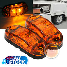 "2X12V DC 2.6"" Amber LED Side Marker Clearance Lights Indicators Trailer Truck"