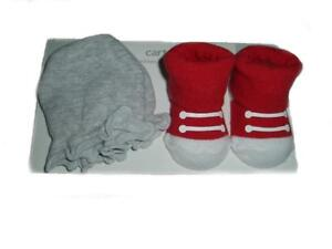 Carter's Scratch Mittens & Socks Set Red and Gray - (Size - 0-3 Months)