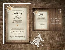 Wedding Invitations Wood Lace & Burlap Flower  50 Invitations & RSVP Postcards