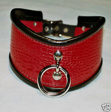 Genuine Leather Posture Collar 2.5 Red Patent Black Trim D & O Ring Handcrafted