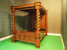 Super King Size Mansion BESPOKE RAW mahogany Four Poster TUDOR BED  white cream