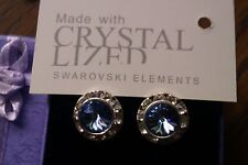 Genuine Swarovski Elements Gift Boxed Light Sapphire Crystal Stud Earrings 13mm