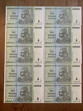 More details for 10 x zimbabwe ten trillion dollar notes 2008 uncirculated aa serial