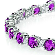 Sterling Silver Classic Diamond and Amethyst Tennis Bracelet February Birthstone