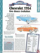 Chevrolet Bel Air Sport Coupe 150 / 6 Cyl. 1954 USA Car Auto Retro FICHE FRANCE