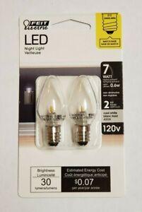 1W Clear White LED E-12 Base Night Light Bulbs 2-Pack Feit Electric New BPC7CJW