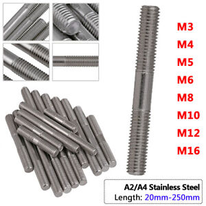 M3 - M16 Studs GB901 Screw Rod Threaded On Both Ends Bolts A2 A4 Stainless Steel