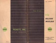 1960 PICKETT HOW TO USE TRIG SLIDE RULES SOFT COVER VERY GOOD COND