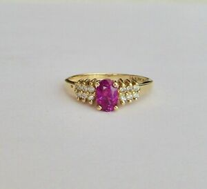 Oval Pink Sapphire & Diamond Ring in 14K Yellow Gold~~Ring Size 6.25