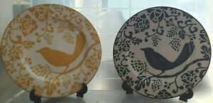 """Pier 1 Imports Lot of Two 8"""" Decorative Bird Plates with Stands Blue & Yellow"""