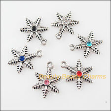 6 New Charms Snowflake Flower Mixed Crystal Tibetan Silver Pendants 13.5x18mm