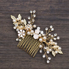 Bridal Wedding Hair Accessories Pearl Gold Clip in Pin Comb Gold Hair jewellery
