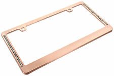 Rose Gold Metal License Plate Frame Two Rows of Clear Bling Crystals