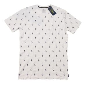 Polo Ralph Lauren Men's White All Over Pony Logo Graphic Crew-Neck T-Shirt