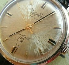 Solid 14k Gold Vintage 1970's Men's Lucien Piccard Seashark Automatic Watch Runs