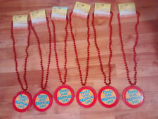 """Hallmark Party Lot of 6~ Mardi Gras Red Bead Necklace """"Party Your Maracas Off!"""""""
