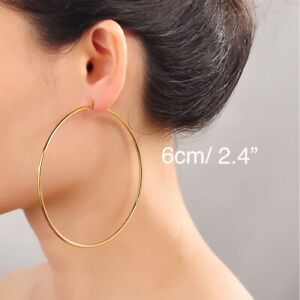 """18K Gold Plated Round 6cm 2.4"""" Large Big Hoop Earrings Stainless Steel E63"""