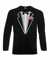 TUXEDO T-SHIRT LONG SLEEVED PINK CARNATION STAG FANCY DRESS PARTY LONG SLEEVE