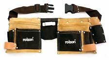 ROLSON DOUBLE LEATHER TOOL POUCH BELT POCKET BUILDERS BAG HAND TOOLS ADJUSTABLE