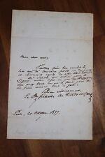✒ L.A.S baron de REIFFENBERG à Louis SCHOONEN - recommandation pour A. SCHOLL