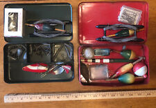 Vintage Fishing Tackle Box Fishing Gear Meadow brook Pilot Oyster Buoy Lot Tin