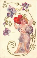 Valentine~Gossmer Lavender Cupid in Art Nouveau Purple Flowers~Red Heart~Emboss