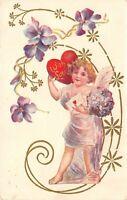 Valentine~Gossmer Lavender Cupid in Art Nouveau Purple Flowers~Red Heart~Emboss