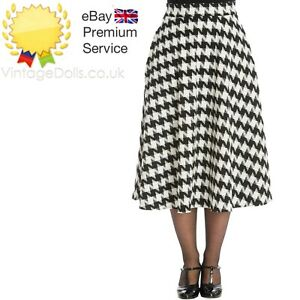 Banned Apparel Classic Charm Swing Houndstooth 50s Pin Up Black & White Skirt