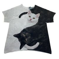 Cats T Shirt Black Cat White Cat Graphic Size Small