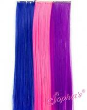 """3 Clip-in Hair Pieces Extensions fits 18"""" American Girl Dolls blue pink purple"""