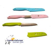 COLTELLO DA CUCINA IN ACCIAIO  LAMA LISCIA 10cm CON CUSTODIA KITCHEN KNIFE STOCK