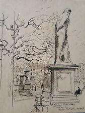 Dessin orig de Constant le Breton signé/envoi Quartier Paris Statue Monument