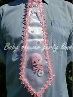 "BABY SHOWER DAD TO BE TIE ""IT'S A GIRL"" BABY RATTLE PINK RIBBON Corsage Pin Sash"