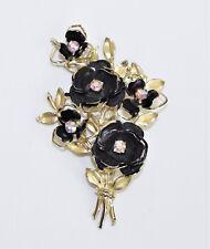 Vintage CORO Aurora Borealis Rhinestone Black Enamel Gold Tone Flower Pin Brooch