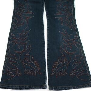 Younique Juniors 9 Denim Jeans Low Rise Boot Cut Embroidered Flames Fire Biker
